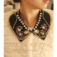 Multicolour gem chain collar necklace false collar accessories female collar accessories