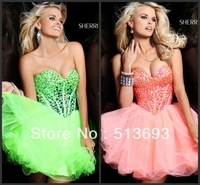 Fresh Looking A-line Sweetheart Organza Crystals Prom Dress Short