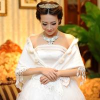 The bride wedding dress formal dress cape belt laciness beige thin coat autumn and winter cape 30