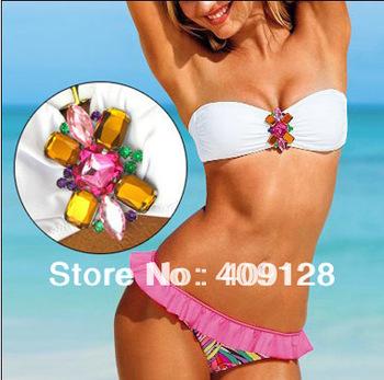 fashion bikini swimwear women push up swimsuit sexy white crystal bikini set free shipping beach suit