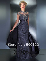 2013 New Arrival Charcoal Sheath High Collar Beaded Embroideried Panel Lace Dresses 80171D