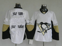 Customized Personalized Pittsburgh Penguins white colors ice hockey jerseys Sewed Your Name And Your Number