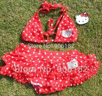 Hot Sale!! 2013 hello kitty bikini sets kids beachwear girl's cartoon swimwears children's skirt