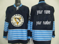 cheap Custom Personalized Pittsburgh Penguins dark blue winter classic ice hockey jerseys Sewed Your Name And Your Number