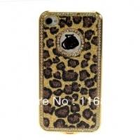 Luxury Rhinestone Bling Diamond Leopard Chrome Hard Case Cover For Phone 4/4S