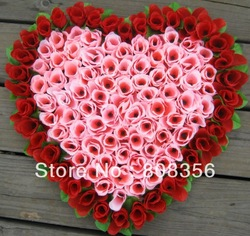 1p 40cm*37cm Lovely Heart Shape Rose Flowers Wedding Car Wall Door Artificial Floral Decorations 5 Colour Designs Available(China (Mainland))