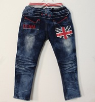 KZ-273,5 pcs/lot In stock kid trousers cool boy Flag design denim pants spring/autumn brand children jeans wholesale