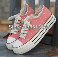 Free Shipping  Fashion Women's Lovely Low Style Canvas Shoes Laced Up Casual Sneakers With Lace Rims