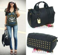 HOT free shipping women's handbag bag fashion british style rivet messenger bag dual-use portable  free shipping