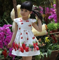 free shipping New arrivel 2014 Hot-selling strawberry small one-piece suspender elegant princess child summer dress