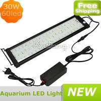 New Black 60LED High Quality Fish Tank Light Led 30W Aquarium Lamp Blue White light color,Wholesale aquarium led lights lamp