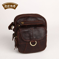 Quality ! Genuine Leather Messenger bag leather fashion vintage butter fashion brief small waist pack 06211 - 1