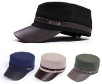 Wholesale10pcs Classic PU Brim Flat Army Hat Lady Sports Caps Ladies Visor Military Cap Mens Hats Womens Headwear Seasonless F45