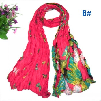girl's fashion printe popular butterfly with flower hijab design autumn scarf/scarves 160*50cm 10pcs/lot