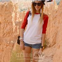 free shipping 2013 women's spring baseball shirt three quarter sleeve t-shirt basic shirt american apparel aa