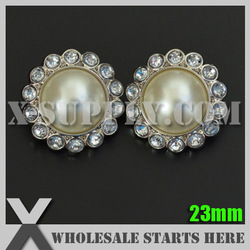 23mm Ivory Pearl Button for Clothing,Flower Center in Silver Base/Wholesale Bulk(China (Mainland))