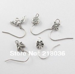 HOT 50Pcs Mixed Tibetan Silver Tone Wire Earrings Hooks Findings 18mm A1448 DIY Metal Jewelry(China (Mainland))