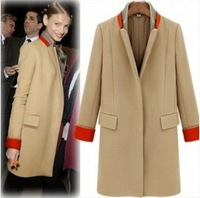 2013 nibbuns handsome color block decoration fur collar overcoat beige yellow free ship