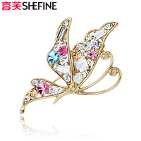 New arrival accessories brooch corsage silk scarf pins gold plated cuicanduomu crystal austrian diamond butterfly