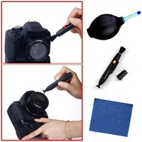 Free shipping 3 in 1 Lens Cleaning Cleaner Dust Pen Blower Cloth Kit For DSLR VCR Camera Canon For Nikon