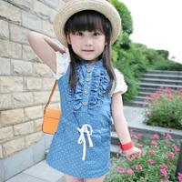 2013 summer one-piece dress childrens dresses princess 100% cotton water wash denim sundress