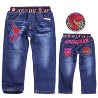 Free shipping! Wholesale 2013 New Cartoon Spider-man boys long pants denim jeans kids children trousers/denim pants(5pcs/lot)