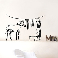 Banksy Zebra Stripes Wash Vinyl Wall Sticker  wall decals  mural wallpaper  for home  wall art   60*90CM Free shipping