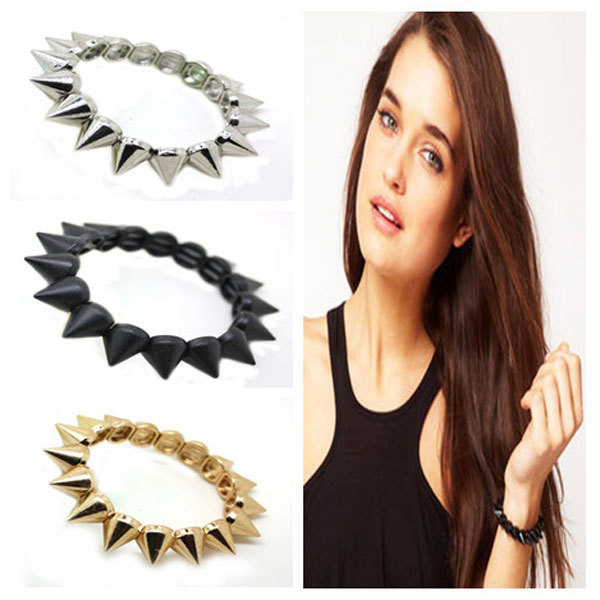 Fashion rivet female elastic bracelet punk b1-093(China (Mainland))