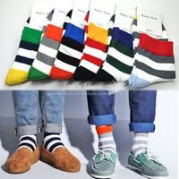 6 double fashion color block bold stripe socks 100% cotton knee-high socks male socks colorful socks