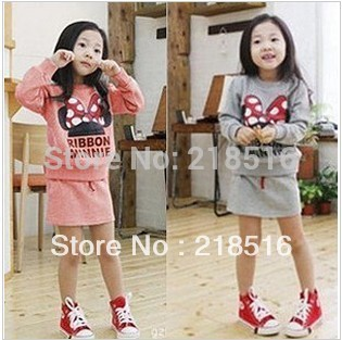 new arrive thickening warm children clothing for girls suit Mickey Mouse Minnie thick sweatshirt + skirt = sets Kids clothes