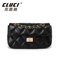 Cluci 2013 women's genuine leather handbag plaid fashion shoulder bag chain handbag