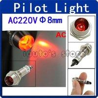 10pcs Metal Case 2 Pins Red LED Lamp Signal Indicator Light AC 220V