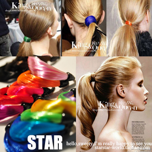 free shipping Fashion 76120 supermode twisted neon color gradient wig rubber band hair rope headband