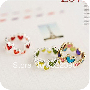 71013 popular accessories multicolour candy love heart buckle finger ring female