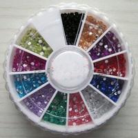 Nail Decoration Resin Rhinestions Flatback Nail Crystal diamond Mix 2mm 1.5mm nail art 12 Colors