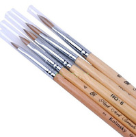 5pcs Nail art brush  wood rod pure sable mink hair  Brush For French crystal nail