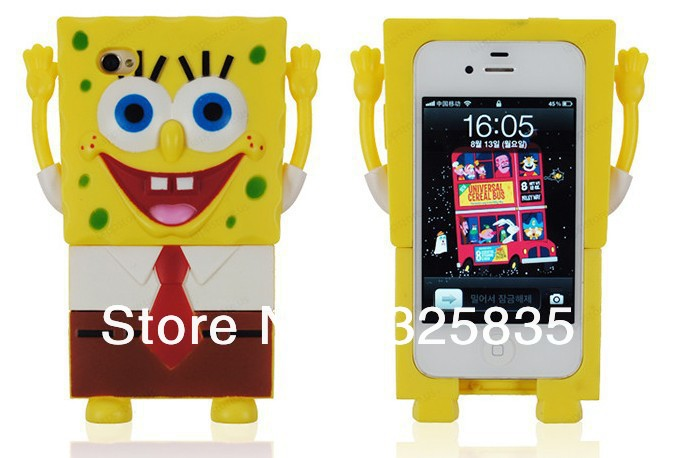 Free shipping 1pcs Cute Cartoon3D Spongebob Cover Case For iPhone 4 4G 4S with retail package, Yellow(China (Mainland))