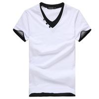 New 2014 summer men's faux two piece t-shirt V-neck slim short-sleeve T-shirt