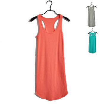 Thickening rib knitting candy color elastic slim tank dress all-match universal basic shirt slim hip tank dress