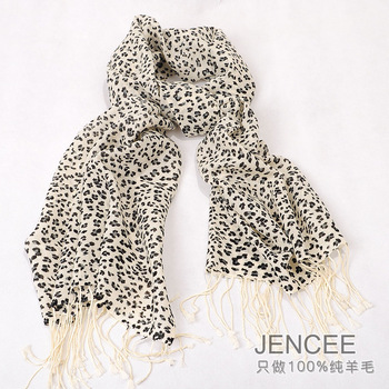Jencee leopard print wool scarf autumn and winter thermal tassel cape wool scarf female 23019