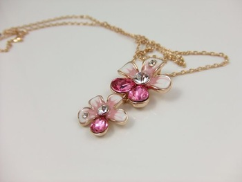 HOT!! Fashion jewelry double fushia flower crystal necklace female jewelry gift accessories FREE SHIPPING