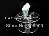 Free Shipping Transparent Acrylic Ice Cream Cake Candy Holder Display Stand  - 1 PCS 7 Cones Round