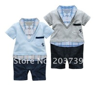 3pcs/lot baby clothing Baby romper,Fake 2-pcs Plaid Romper boy's romper