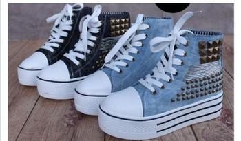 New Womens Medium Top Rivet Denim Canvas Rubber Platform Shoes Sneaker 4 Size