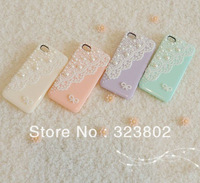 Lace Pearl Cell Phone Case Cover For iPhone 5 Optional Color Violet / Pink / Mint Green / Beige / White / Black
