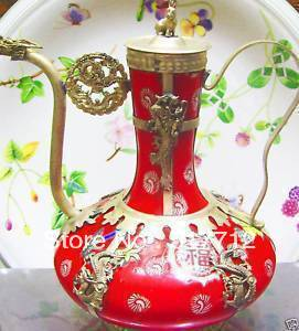 FREE p&p**********Chinese tibet Dragon red porcelain teapot(China (Mainland))