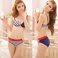 Navy style stripe sweet young girl women's push up sexy underwear bra set