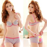 Love 100% cotton trunk insert push up underwear young girl student bra set
