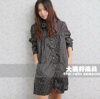 big seed rain gear colorful fashion circle dot raincoat trench dry 1002 black