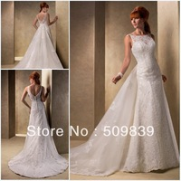 Free Shipping A-Line Spaghetti Appliques Lace Elegant  Chapel Train Chiffon Bridal Wedding Dresses